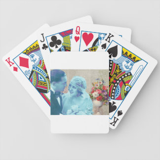 Vintage Wedding bride & groom marriage invitation Bicycle Playing Cards