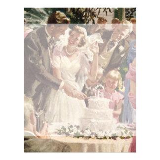 Vintage Wedding Bride Groom Newlyweds Cut Cake Flyer Design