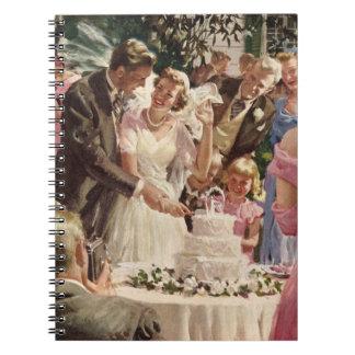 Vintage Wedding Bride Groom Newlyweds Cut Cake Journal