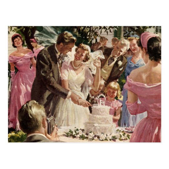 Vintage Wedding Bride Groom Newlyweds Cut Cake Postcard