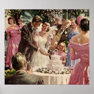 Vintage Wedding Bride Groom Newlyweds Cut Cake Poster