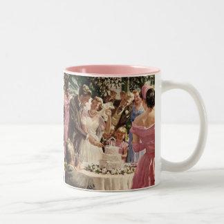 Vintage Wedding Bride Groom Newlyweds Cut Cake Two-Tone Mug