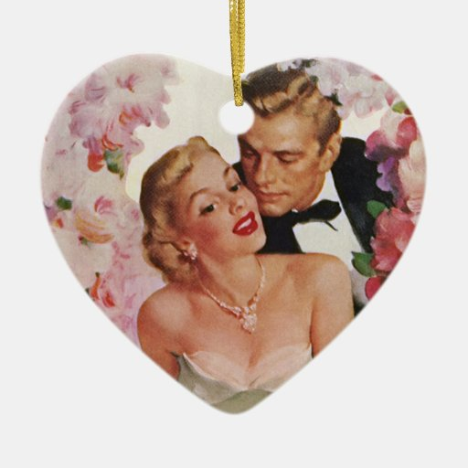 Vintage Wedding Bride Groom Newlyweds Flowers Christmas Ornaments