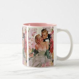 Vintage Wedding Bride Groom Newlyweds Flowers Two-Tone Mug