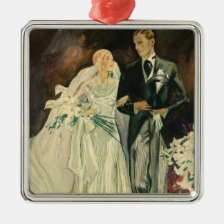 Vintage Wedding Bride Groom Newlyweds Just Married Silver-Colored Square Decoration