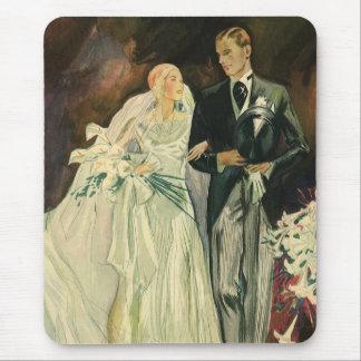 Vintage Wedding Bride Groom Newlyweds Just Married Mousepad