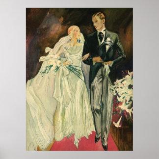 Vintage Wedding Bride Groom Newlyweds Just Married Poster
