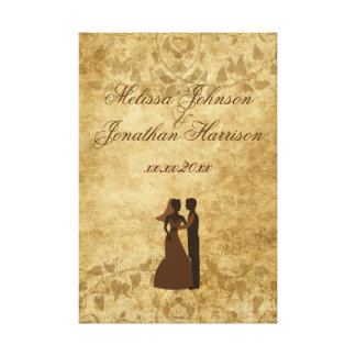 Vintage wedding Bride Groom Once upon a time Canvas Print