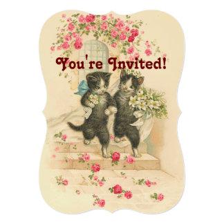 Vintage Wedding Cat Couple Soft Gold Invitation