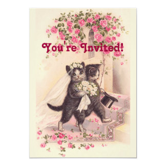 Vintage Wedding Cats Soft Pink Invitation
