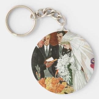 Vintage Wedding Ceremony, Bride Groom Newlyweds Basic Round Button Key Ring