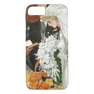 Vintage Wedding Ceremony, Bride Groom Newlyweds iPhone 7 Case