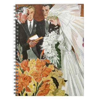 Vintage Wedding Ceremony Bride Groom Newlyweds Spiral Note Book