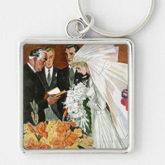Vintage Wedding Ceremony, Bride Groom Newlyweds Silver-Colored Square Key Ring