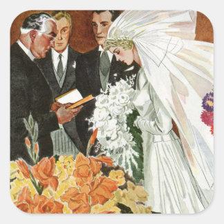 Vintage Wedding Ceremony, Bride Groom Newlyweds Square Stickers