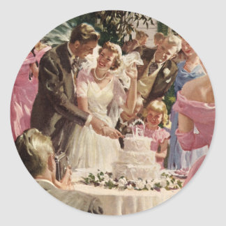 Vintage  Wedding Ceremony Round Sticker