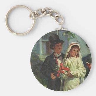 Vintage Wedding Child Bride Groom Pretend Ceremony Keychain