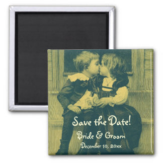Vintage Wedding, Children Kiss Save the Date Square Magnet