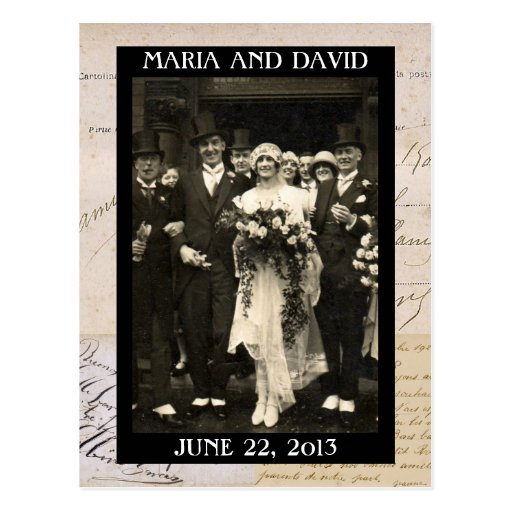 Vintage Wedding Couple Save the Date Postcard