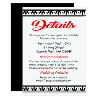 Vintage Wedding Details Black & White Red Floral Card