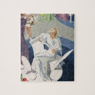 Vintage Wedding, Elegant Art Deco Bride Jigsaw Puzzle