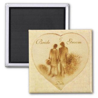Vintage Wedding Favor Square Magnet