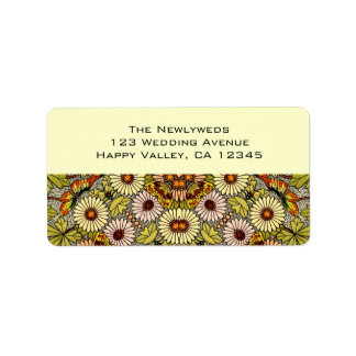 Vintage Wedding, Garden Flowers Floral Butterflies Label