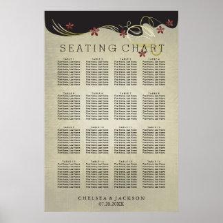 Vintage Wedding Gold Swirls & Red  - Seating Chart Poster