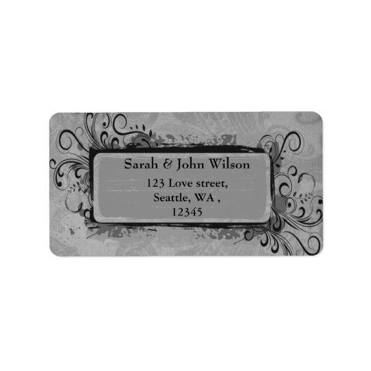 vintage wedding grey, return address label
