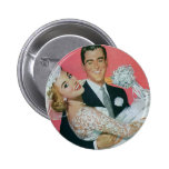 Vintage Wedding, Groom Carrying Bride, Newlyweds Buttons