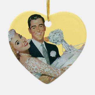 Vintage Wedding, Groom Carrying Bride, Newlyweds Ceramic Heart Decoration