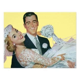 Vintage Wedding, Groom Carrying Bride, Newlyweds Custom Announcements