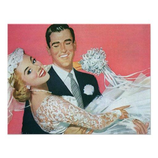 Vintage Wedding, Groom Carrying Bride, Newlyweds Personalized Invites