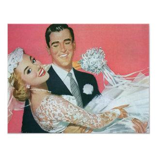 Vintage Wedding, Groom Carrying Bride, Newlyweds 4.25x5.5 Paper Invitation Card