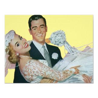 Vintage Wedding, Groom Carrying Bride, Newlyweds 11 Cm X 14 Cm Invitation Card