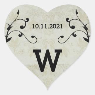Vintage Wedding Heart Stickers