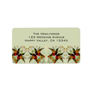 Vintage Wedding, Hummingbirds and Flowers Address Label
