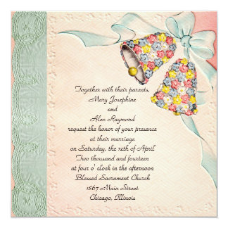 "Vintage Wedding Invitation 5.25"" Square Invitation Card"
