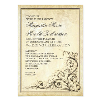 Vintage wedding invitation with flourish swirls