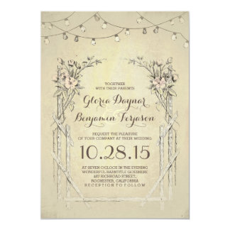 vintage wedding invitation with string lights