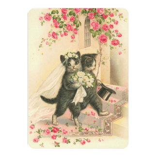 Vintage Wedding Kittens 13 Cm X 18 Cm Invitation Card