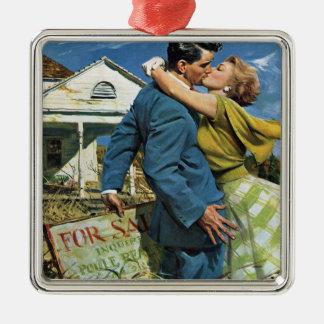 Vintage Wedding, Newlyweds Buy First House Metal Ornament