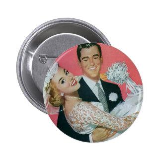 Vintage Wedding Newlyweds, Groom Carrying Bride 6 Cm Round Badge