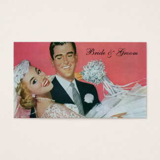 Vintage Wedding Newlyweds, Groom Carrying Bride Business Card