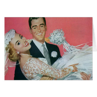 Vintage Wedding Newlyweds, Groom Carrying Bride Card