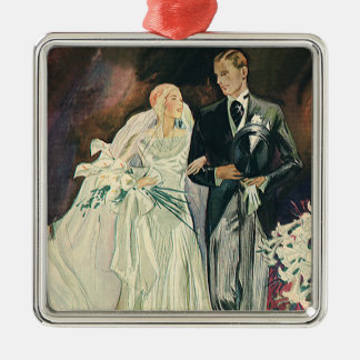 Vintage Wedding Newlyweds, Happy Bride and Goom Metal Ornament