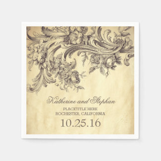 vintage wedding paper napkins