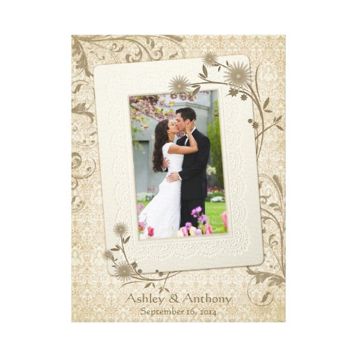 Vintage Wedding Photo Template Canvas Picture Gallery Wrapped Canvas