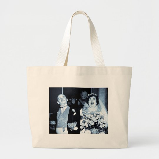 Vintage Wedding Picture - Happy Couple (Cyanotype) Large Tote Bag