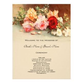 Vintage Wedding Program Antique Rose Flower Floral Flyer